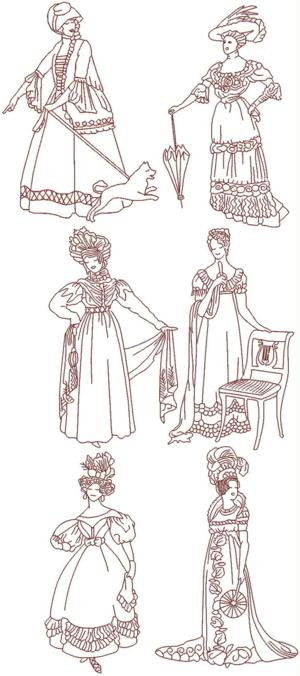 Fashionable Ladies of the Past Redwork Set II