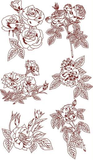 Advanced embroidery designs rose redwork set ii