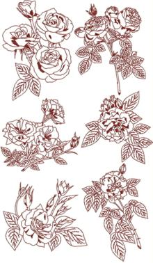 Rose Redwork Set II
