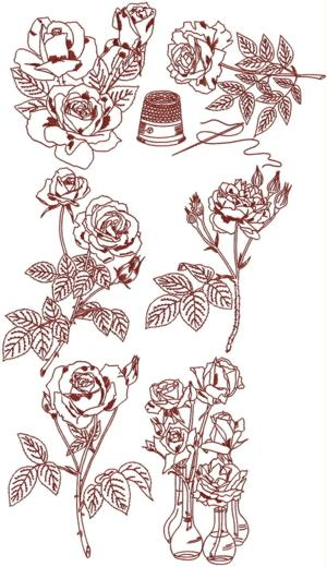 Rose Redwork Set III