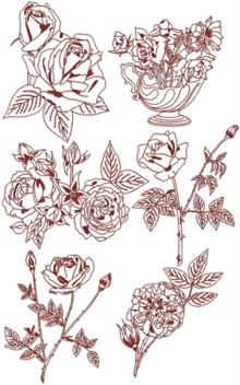 Rose Redwork Set IV