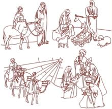 Nativity Redwork Set V