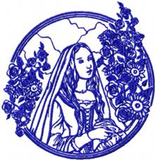 Medieval Lady in Rose Garden