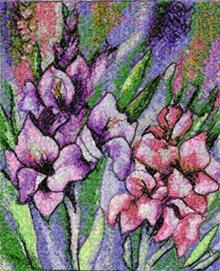 Gladioluses. Machine embroidery design.