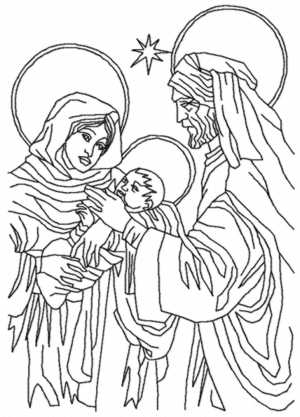 Holy Family Redwork