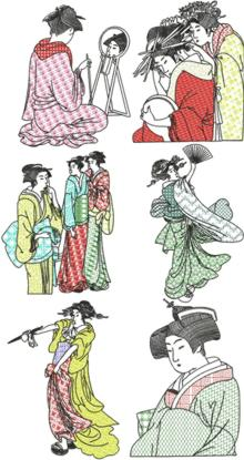 Geisha Blackwork Set II