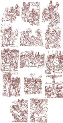 Life of Jesus Redwork Set