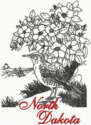 Advanced Embroidery Designs North Dakota Western Meadowlark