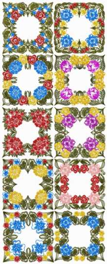 Garden Flower Quilt Block Set