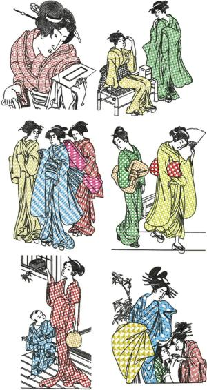 Geisha Blackwork Set III
