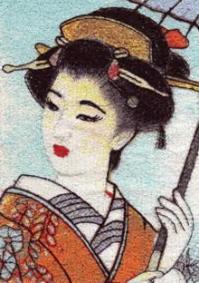 A Japaneese geisha with a parasol