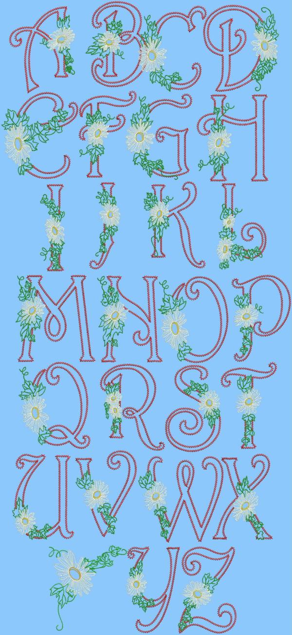 Advanced Embroidery Designs Daisy Alphabet