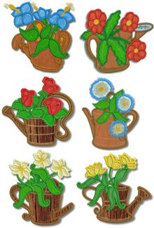 Watering Can Applique Set