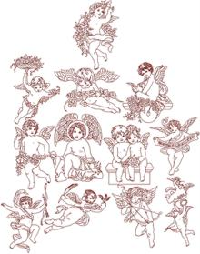 Victorian Angel Redwork Set