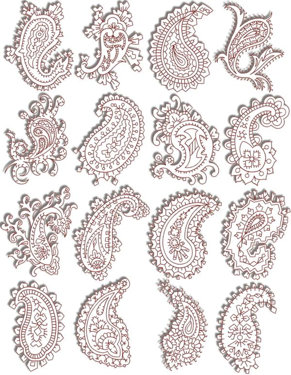 Advanced Embroidery Designs Redwork Paisley Set