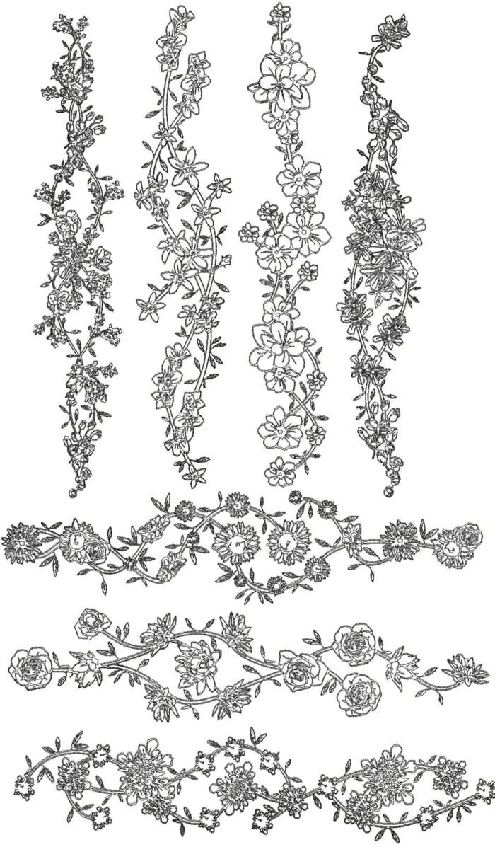 Redwork Flower Border Set