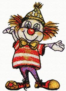 Merry clown, design for machine embroidery
