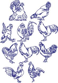 Bluework Chicken Set