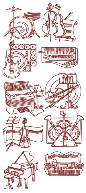 Musical Instrument Redwork Set