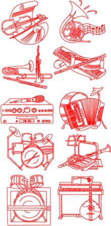 Musical Instrument Redwork Set II