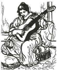 Woman Playing the Guitar by Renoir