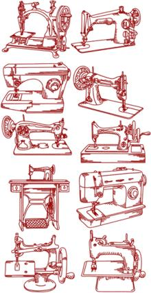 Sewing Machine Redwork Set