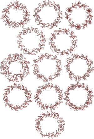 Redwork Flower  Wreath Set