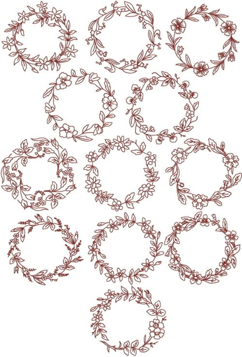 Advanced Embroidery Designs Redwork Flower Wreath Set
