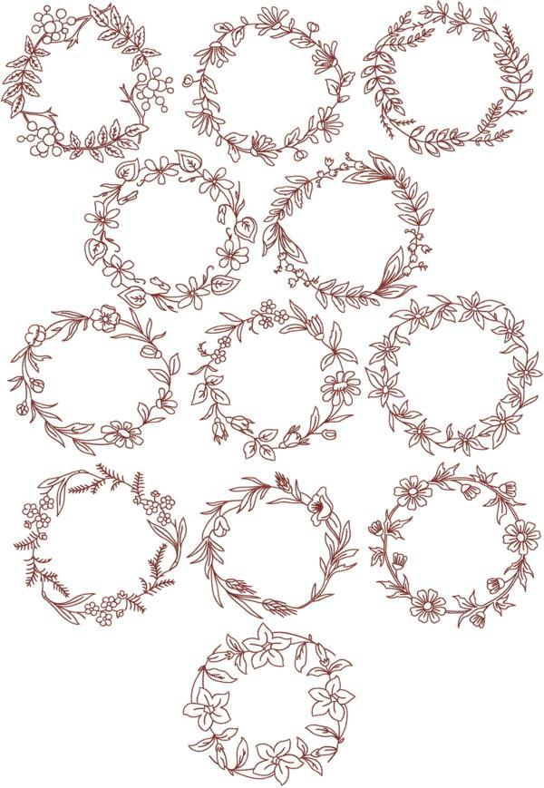 Advanced embroidery designs redwork flower wreath set ii