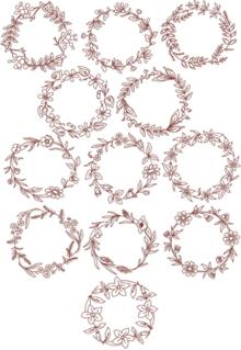 Redwork Flower  Wreath Set II