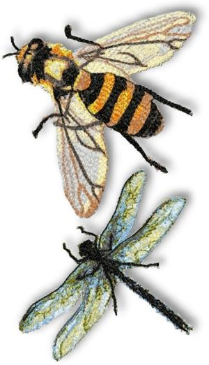 Bee machine embroidery design « origami