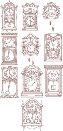 Redwork Clock Set