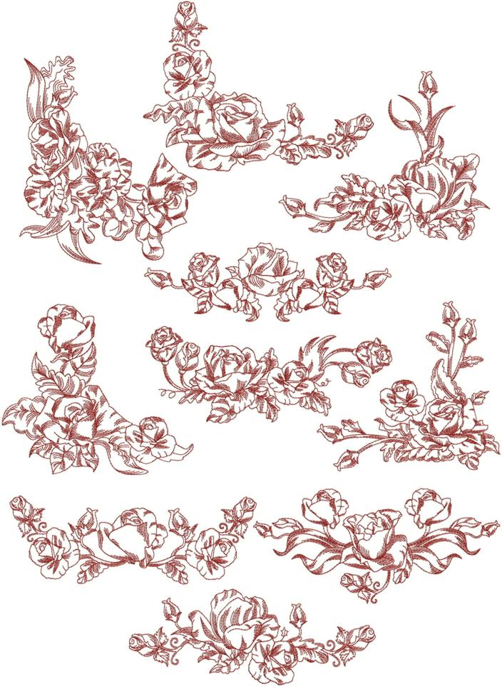 Advanced Embroidery Designs Rose Border And Corner Redwork Set