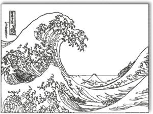 Advanced embroidery designs great wave off kanagawa by for The great wave coloring page