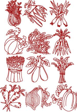 Redwork Vegetable Set