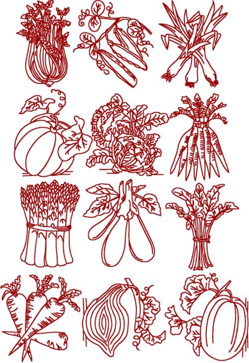 Advanced Embroidery Designs Redwork Vegetable Set