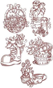 Advanced Embroidery Designs - Redwork >> Flowers Embroidery Designs.