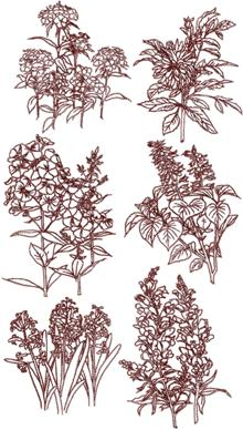 Redwork Wild Flowers Set