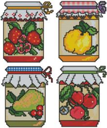 FOur images of jam jars with different kinds of fruit, machine embroidery designs in the cross-stitch technique.