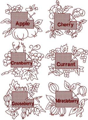 Redwork Fruit Label Set I
