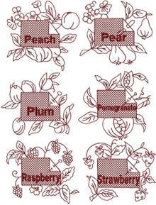 Redwork Fruit Label Set II