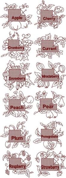 Redwork Fruit Label Sets I & II