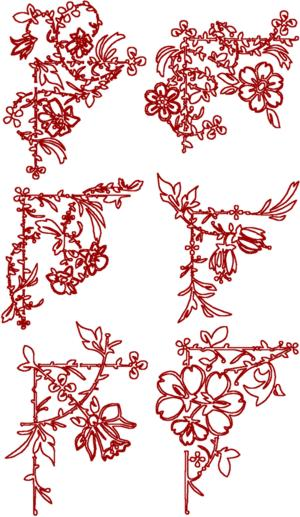 Redwork Flower Corners Set