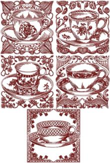 Redwork Tea Cup Set I