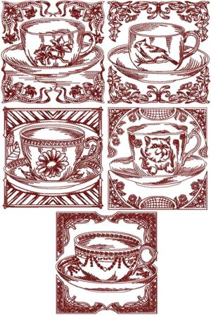 Redwork Tea Cup Set II