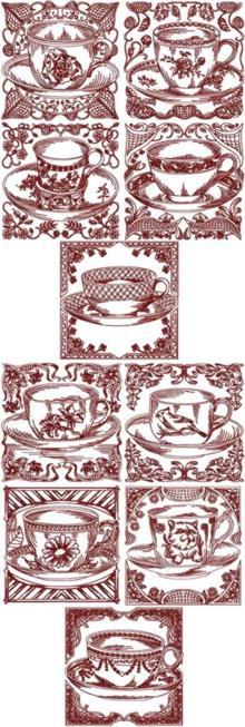 Redwork Tea Cup Sets I & II