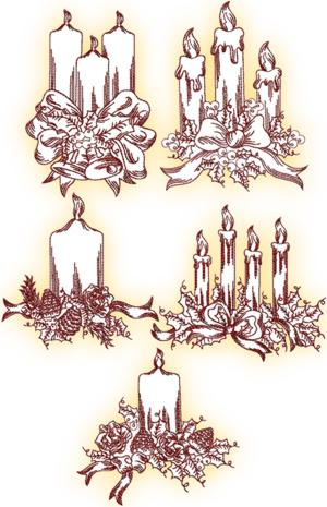 Christmas Candle Redwork Set II
