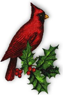Cardinal with Holly