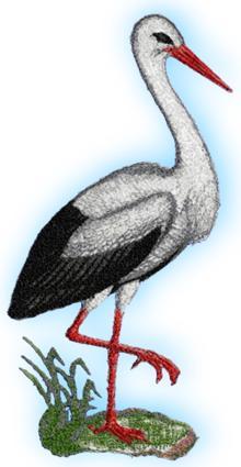 Stork machine embroidery design.