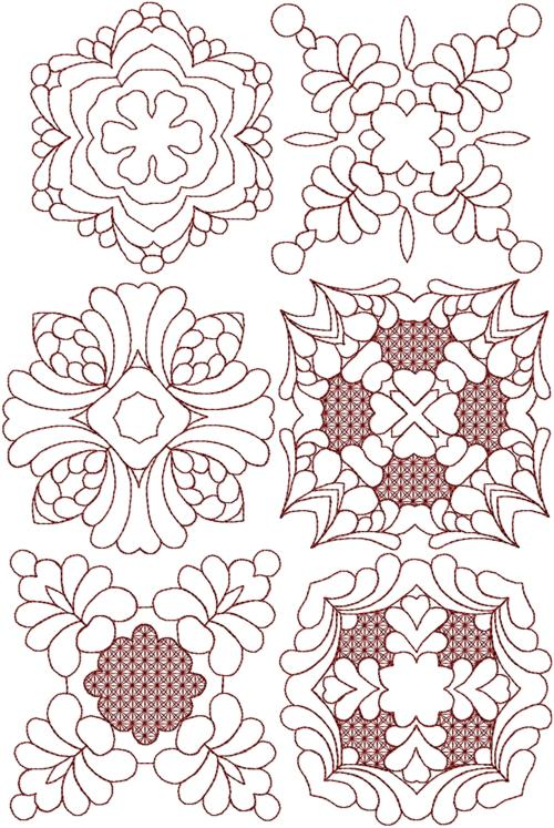 Quilting Trapunto Designs : Advanced Embroidery Designs - Trapunto Quilting Block Set